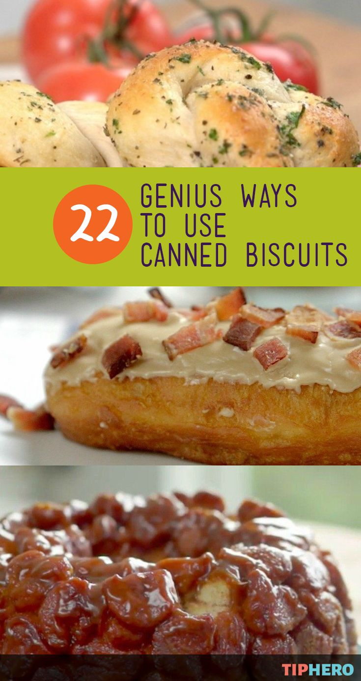 Baking is a breeze when you've got a handy tube of canned biscuit dough. And if all you are making with this kitchen staple is biscuits - you are missing out! Here are 22 genius ways to use canned biscuit dough to make everything from maple bars to doughnuts to garlic bread knots to calzones and more! Click for all of the biscuit recipes and get baking!