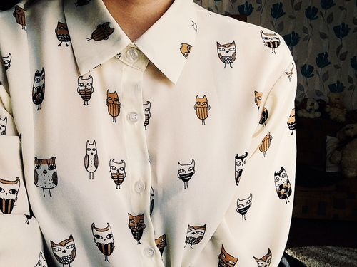 We do love an owl here in the gallery, even more so when we can pair it with fashion!! We love this shirt!!