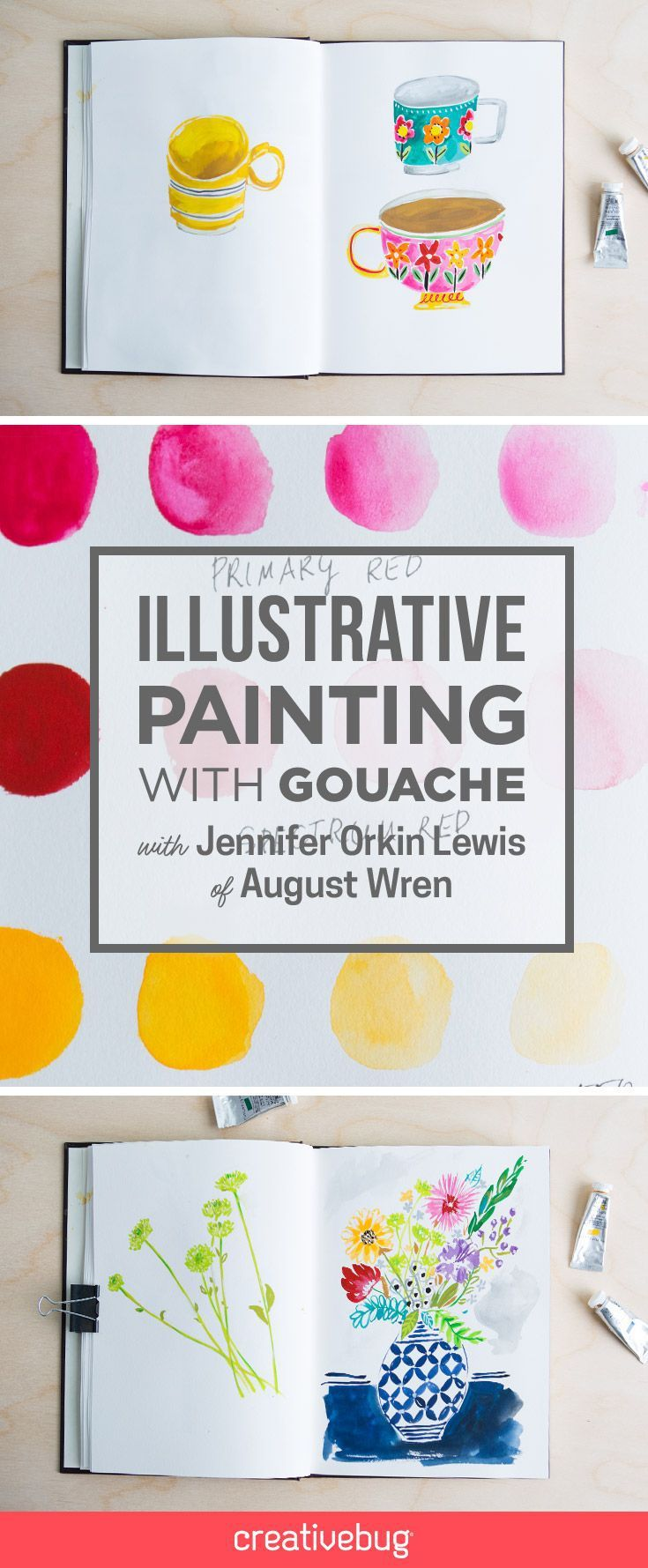 """Before you start painting illustrations with gouache, it's important to understand how to work with the medium. Jennifer begins by showing you how to set up your palette and mix custom colors. She also teaches how to work """"thick"""" or """"thin"""" with dry and wet gouache in order to achieve different effects. Once you've got the hang of working with gouache, Jennifer shows you how to approach painting fanciful everyday objects, like teapots and mugs. Learn how to: Work with gouache Paint from life…"""