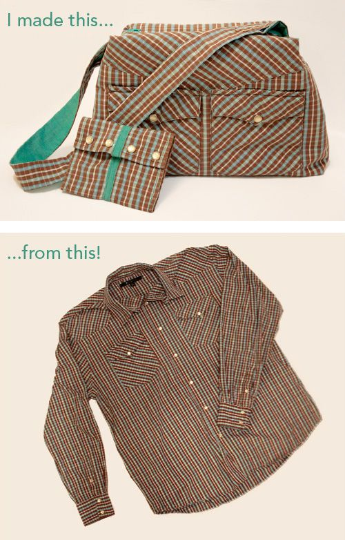 most creative idea I've seen yet to repurpose a mens old dress shirt! Did a Black and Red plaid using black and red for the zipper and lining details really cute.