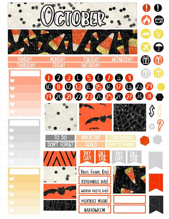 Printable Planner Stickers October Monthly Kit for by LaceAndLogos