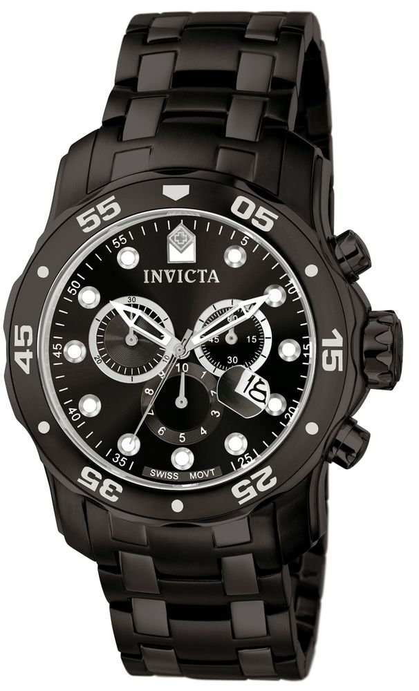 From the renowned Pro Diver collection by Invicta, this stylish timepiece is powered by a finely crafted Swiss Quartz movement. Featuring a stunning 48 millimeter Black case accented by a Black tone Stainless Steel band, it is the perfect accessory for function and style. Protected by a Flame Fusion crystal and water resistant up to 200 meters, Invicta model number 0076 also comes with a five year warranty from InvictaStores.com, the official online source for Invicta watches.