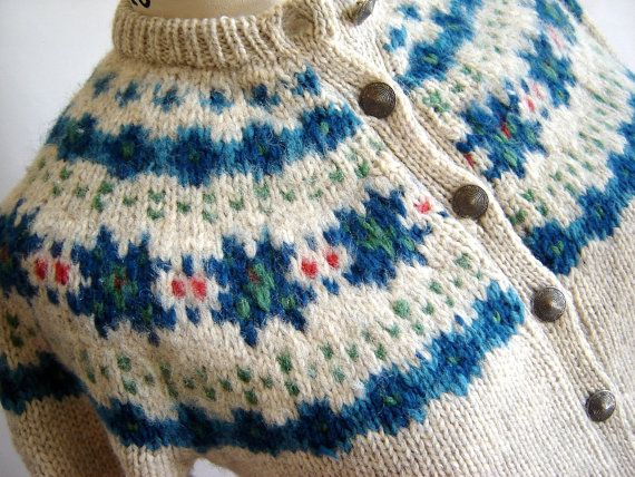 Beautiful Button-Up Winter Wool Sweater by CnCpopupshop on Etsy