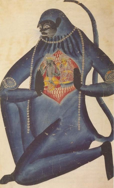 indian deity (hanuman) showing the images in his heart, rendered in kalighat folk style, c.1880