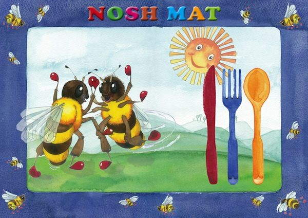 Bee Magic Nosh Mat: place mat for kids. See our Etsy Store: www.etsy.com/shop/KidsinBooks