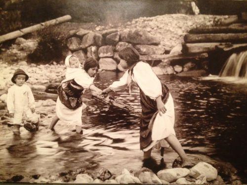 "Pavel Sochan 9x13 Black & White Photograph Slovakia ""A Ford Across A Brook"""