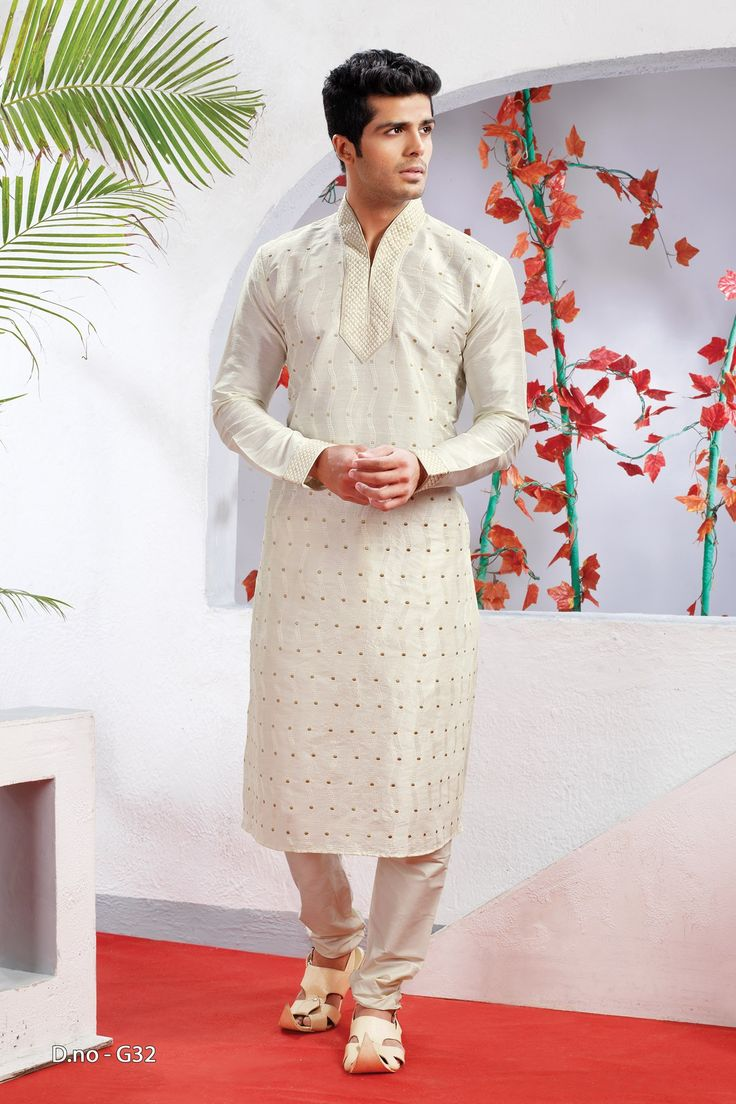 Off White Poly Dupion Readymade Kurta with Churidar  http://www.silk-india.com/en/82-kurta-pajama 53.99$  Now, place your Order now : Email:- raksha@silk-india.com