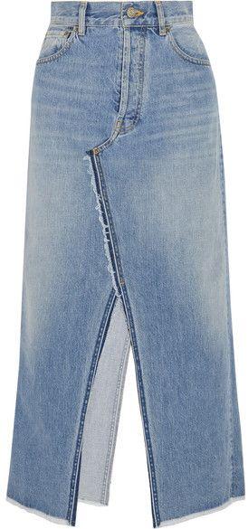 Golden Goose Deluxe Brand Frayed Denim Midi Skirt - Light denim