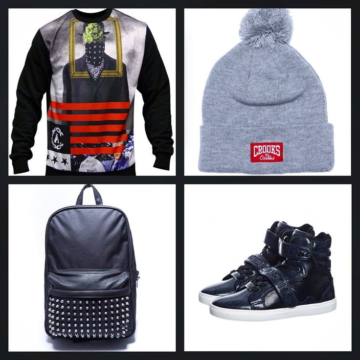 Crooks and Castles Son Of Crooks Sweatshirt:   Crooks And Castles Core Logo Grey Beanie:   Condemned Nation Studded Backpack:   Ah By Android Propulsion High Navy Snake