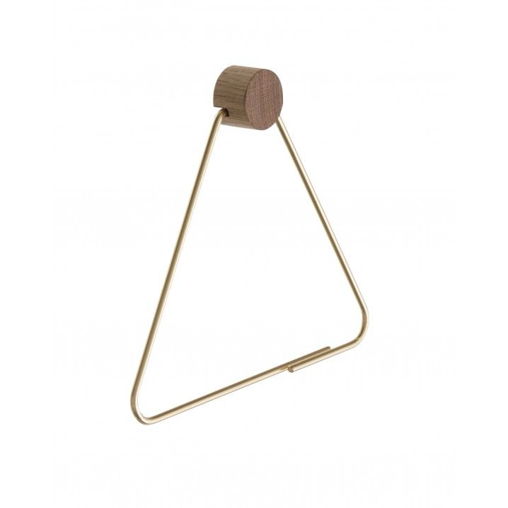 Brass toilet paper holder by Ferm Living     Size: W: 17,5 x H: 15 cm    Material: Solid brass with matt polish and oak wood    The Oak Wood circle measures 30mm in diameter