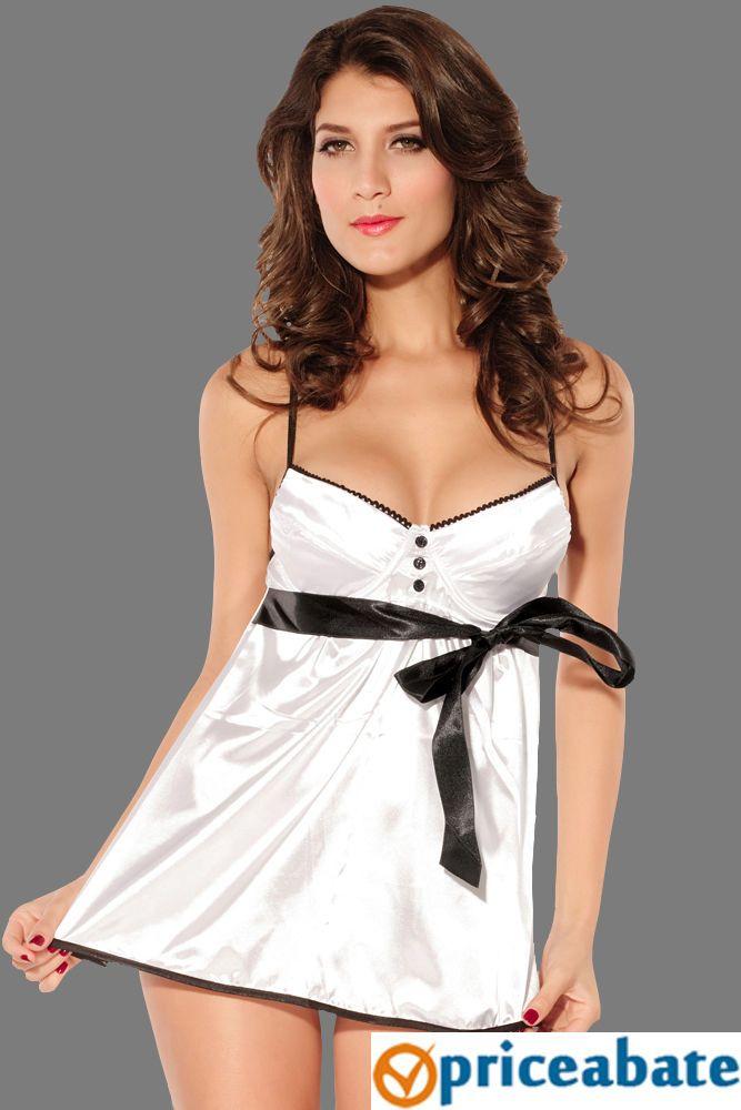Priceabate Glossy Brocade Babydoll with Ribbon Belt White #Unbranded #BabydollChemise