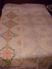 Vintage Quilt Top Stamped for Embroidery w/ Flowers