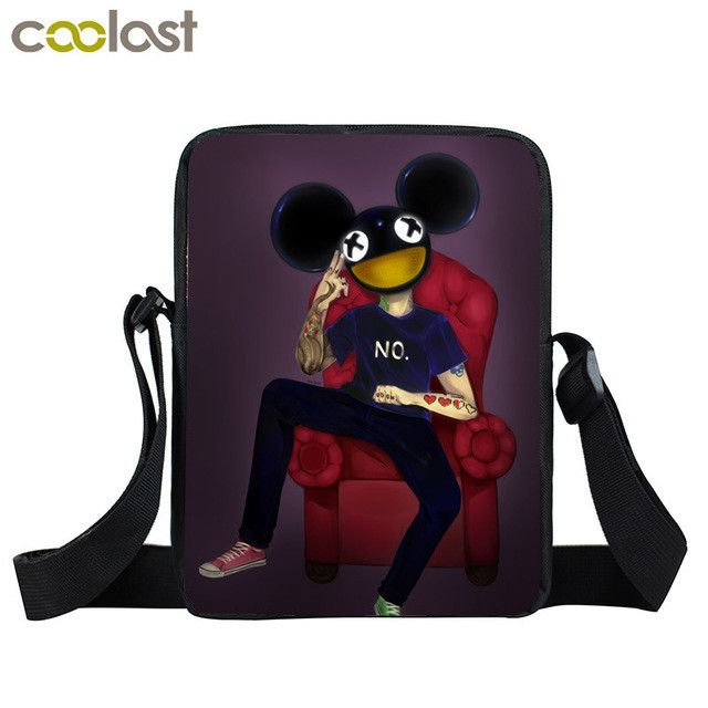 Young Men Women House Music DJ Mini Messenger Bag Punk Rock Disc Jockey Crossbody Bag Boys Girls School Bags Gift Shoulder Bags