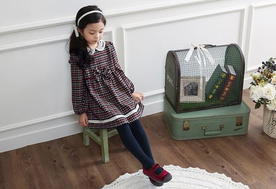 Korea children's No.1 Shopping Mall. EASY & LOVELY STYLE [COOKIE HOUSE] Country Check One Piece / Size : 5-19 / Price : 35.36 USD #cute #koreakids #kids #kidsfashion #adorable #COOKIEHOUSE #OOTD #dress #check #onepiece
