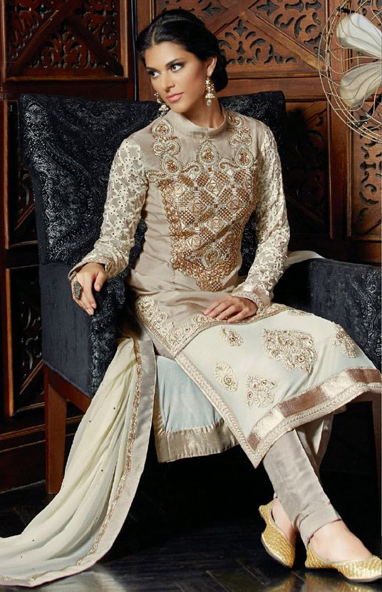 USD 81.07 Beige Tussar Silk Pakistani Style Suit 48562