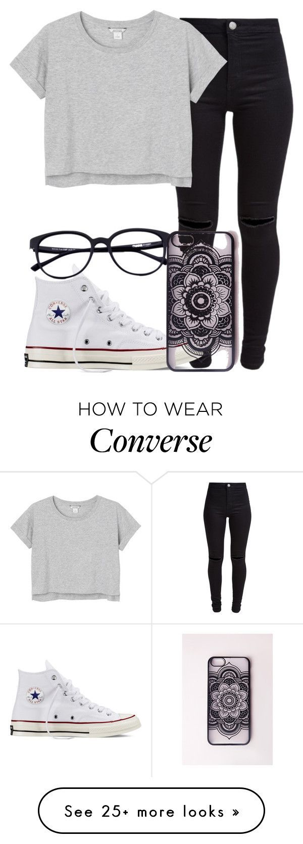 """Mandala 4"" by mallorimae on Polyvore featuring New Look, Monki, Converse and Missguided"