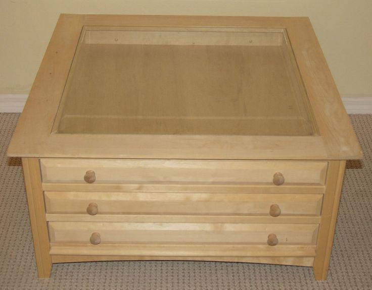 Unfinished Curio Coffee Table 3 Drawers 35 X35 Solid Wood Square Side Glass Top Tops Squares