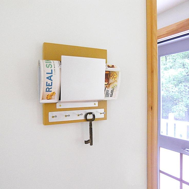 Brass modern mustard wall mount mail holder key rack - Wall mount mail and key rack ...
