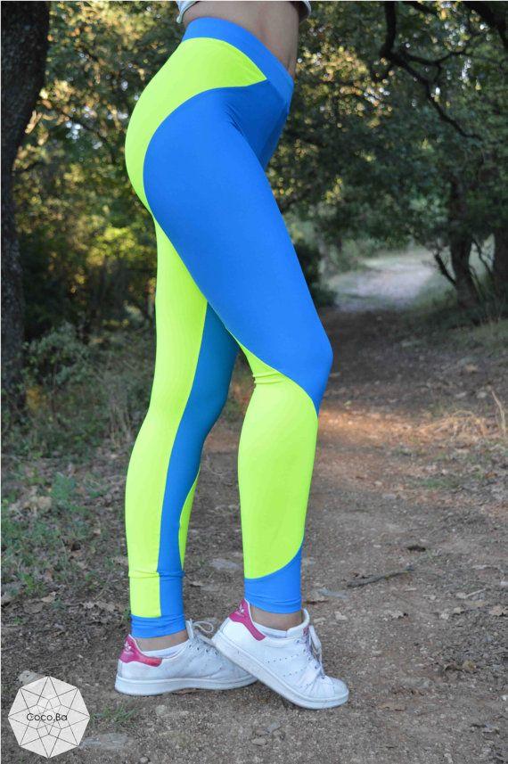 Women Leggings, Blue Neon Yellow Leggings, Workout Leggings, Gym Clothes, Stretch Leggings, Yoga Leggings, Spandex Pants, Fitness Leggings.