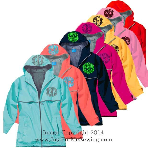 Monogrammed Rain Jacket Personalized by JustForMeSewing on Etsy, $59.99 in navy with light blue monogram