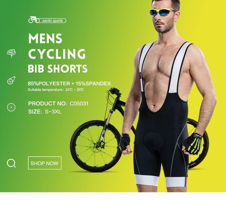 Santic Hombres Acolchado Ciclismo Bib Shorts 4D Ciclismo Jersey pone en Cortocircuito La Bicicleta Culotte Ciclismo C05031