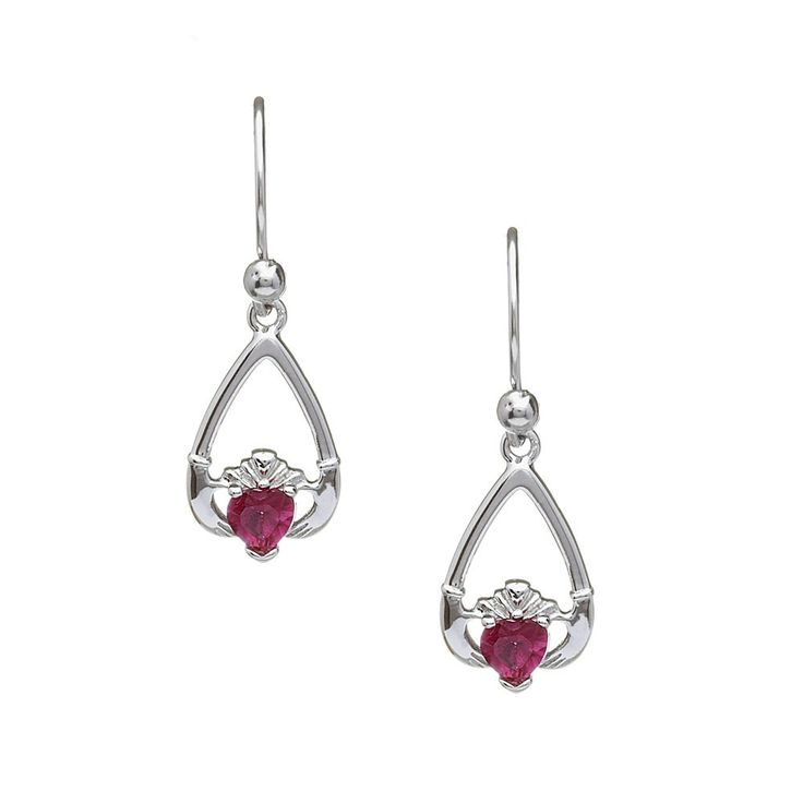 July Birthstone Claddagh Earrings - Claddagh Birthstone Jewelry - Rings from Ireland-Ruby: Action