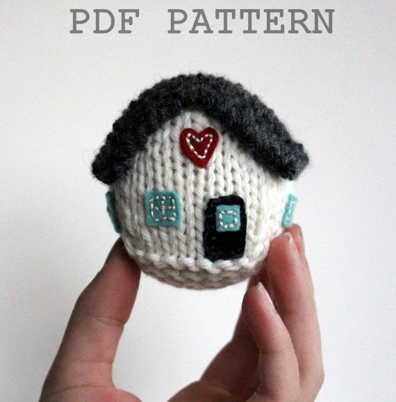 """This listing is for a KNITTING PATTERN for """"The Little House"""" pattern. The pattern includes lots of photos and detailed instructions to make all versions of The Little House shown in the last photo of this listing. If you are looking for the perfect, one-of-a-kind gift to knit….you"""