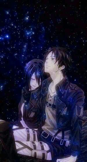 Mikasa and Eren | I love the way he's looking at the sky but she's looking at him :) | Shingeki no Kyojin
