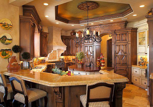 mediterranean-inspired-kitchen.jpg (600×420): Dreams Kitchens, Tuscan Kitchens, Kitchens Design, Trays Ceilings, Ceilings Design, Mediterranean Kitchens, Eating Houses, Kitchens Photos, Mediterranean Home