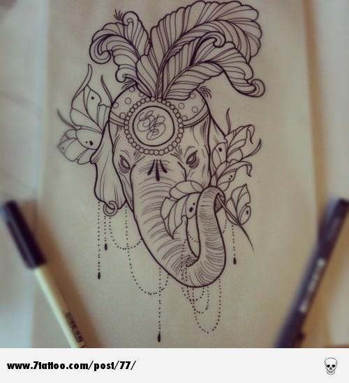 Elephant tattoo design - 7Tattoo