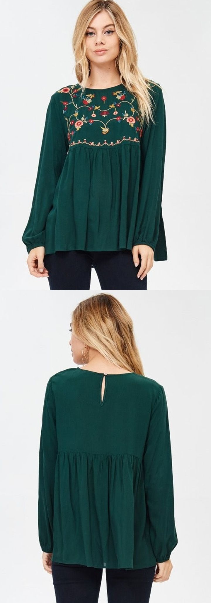 Such a beautiful green shade and loving the embroidery detail on the top of this peplum blouse!  #embroideredshirt #peplumtop #peplum #womensfashion #womenswear #fallfashion #brickyardbuffalo