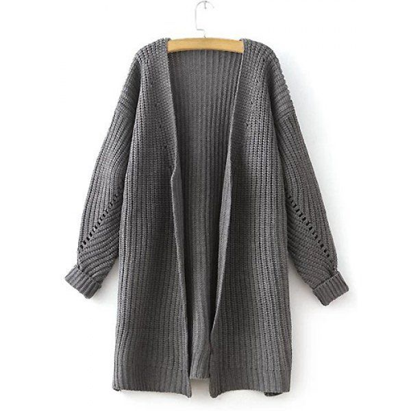 Casual Collarless Long Sleeve Solid Color Loose-Fitting Knitted Women's Cardigan
