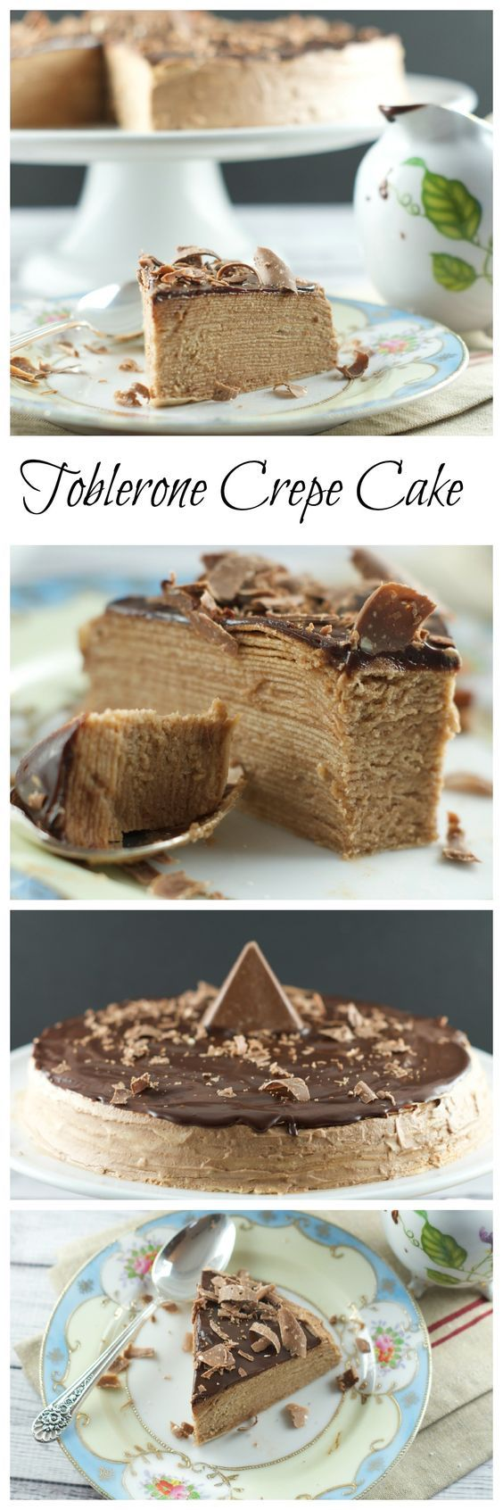 Toblerone Chocolate Crepe Cake - 30 crepes layered with Toblerone ganache and topped with a dark chocolate glaze. A simple, delicious and beautiful cake for entertaining. More delicious cake recipes at livingsweetmoments.com  via @Livingsmoments