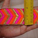 Bordado ajuste de la cinta, seda Sari Pasamanería fronterizos, ajuste decorativo, India MIC, artesanía recorte diseñador de costura del ajuste de la manera del ajuste por el astillero  Bordado...
