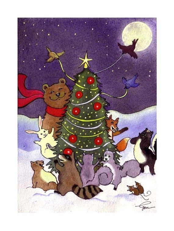 Animals Christmas Greeting Card  Watercolor by tylersworkshop, $3.50
