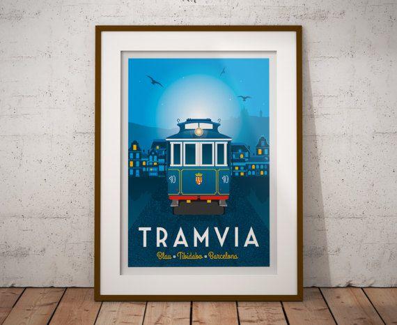 Retrouvez cet article dans ma boutique Etsy https://www.etsy.com/fr/listing/512191595/travel-poster-barcelona-tramvia-blau