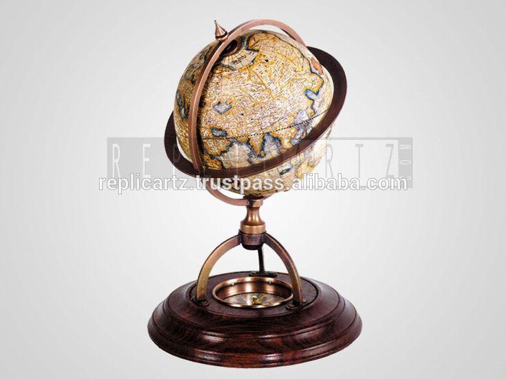 Brass Wood Metal World Globe Map