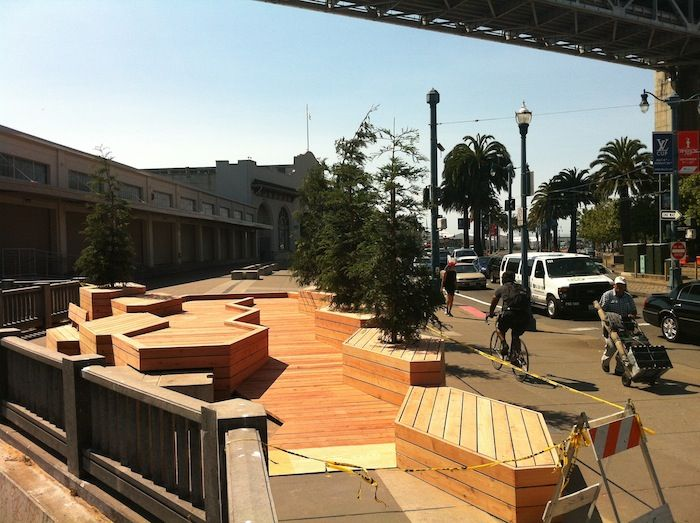 The design is based on a modular form that will allow pieces for the installation to be transported and re-purposed for a new site, when the duration of the installation is over. The hexagonal deck pods are structurally independent so that they can be moved with a forklift. Materials were chosen for durability and re-use appropriateness, with an eye toward long term use in various locations, depending on how long the installation remains.