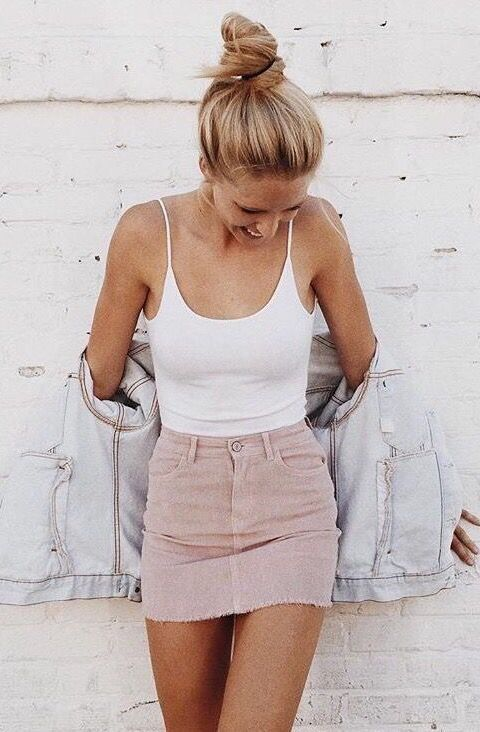 3f5ec24689 how to wear a denim jacket : white top + pink skirt   Pastel on ...