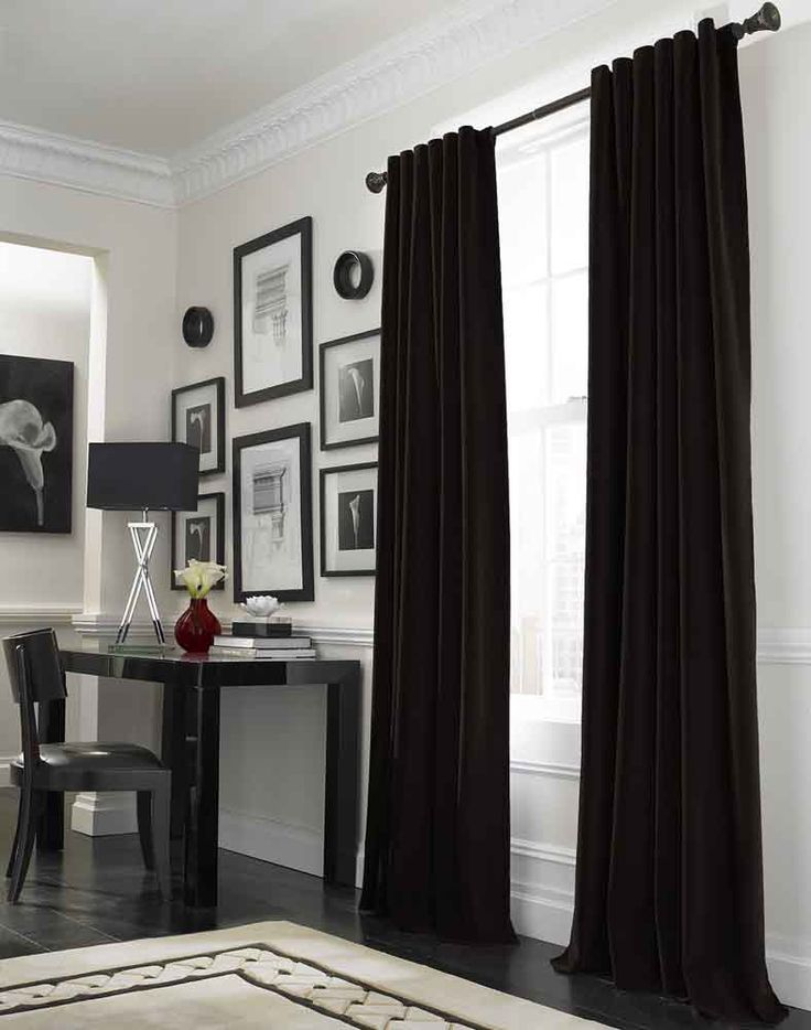 Grey walls  black velvet curtains