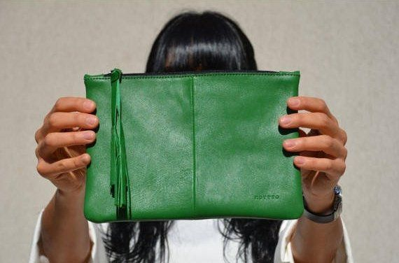 Green Ladies Leather Clutch, Ipad Mini Cover, Bridesmaid Clutch, Leather Clutch …