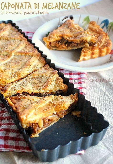Tourte feuilletée à la compotée d'aubergines et pignons - Caponata di melanzane in crosta di pasta sfoglia