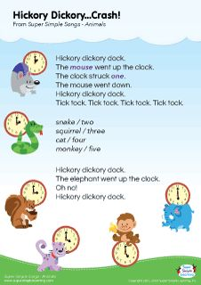"Lyrics poster for ""Hickory Dickory...Crash!"" animal song from Super Simple Learning. #kidssongs #kindergarten #ESL"