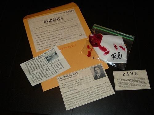 Idea for our Murder Mystery Folders (with murder scene introduction, guess sheet, clues etc.)
