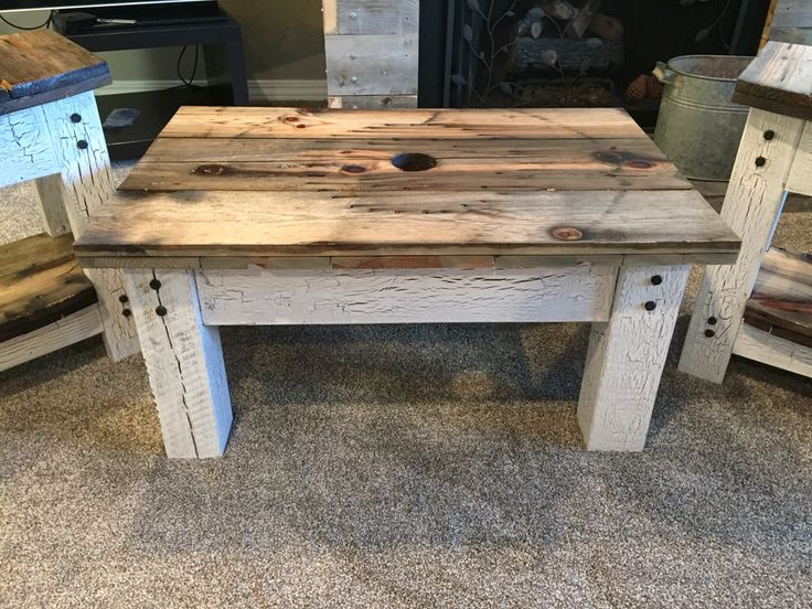 From giant wooden spool to two end tables and a coffee