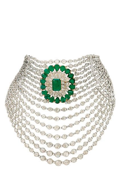 'Cascading diamonds': emeralds and diamonds set in 18K gold necklace