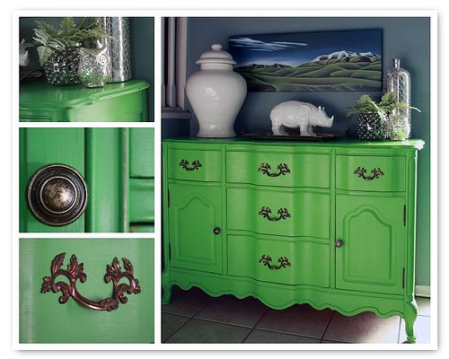 Delightful Green Painted Furniture | Chalk Paint Color Theory   Antibes Green