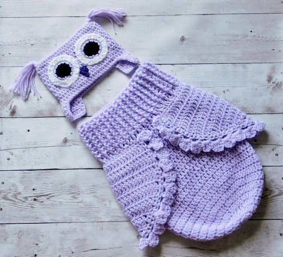 Newborn owl baby cocoon and hat set