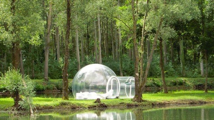 Tenda transparente em formato de bolha traz luxo e conforto ao camping