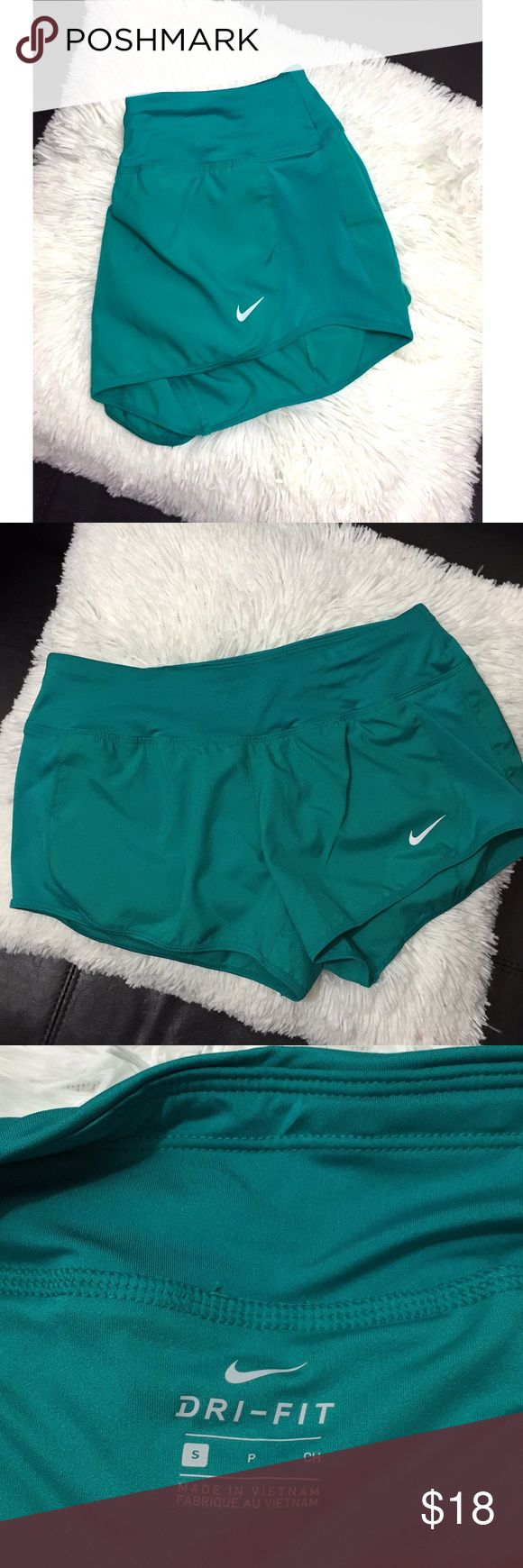 Teal Nike Running Shorts Teal Nike running shorts, women's size small. Like new condition. Has drawstrings and liner on inside!  Nike Shorts
